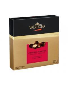 cofanetto mandorle e nocciole ricoperte al cioccolato fondente di valrhona