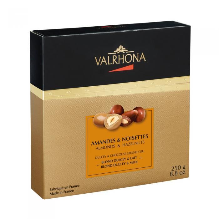 cofanetto mandorle e nocciole ricoperte di cioccolato dulcey e cioccolato al latte di valrhona