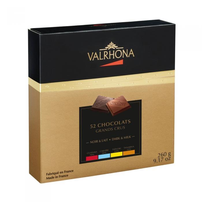 52 carré di cioccolato fodente e al latte di valrhona